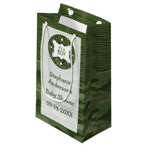 Green Baby Gifts Uk : Green camo boy baby shower gift bag small zazzle