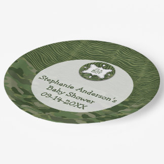 Green Camo Boy Baby Shower Paper Party Plates