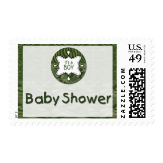 Green Camo Boy Baby Shower Postage Stamps