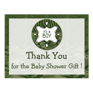 Green Camo Boy Baby Shower Thank You Postcards