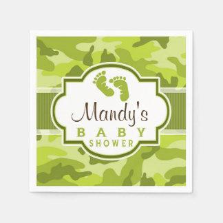 Green Camo, Camouflage Baby Shower Standard Cocktail Napkin