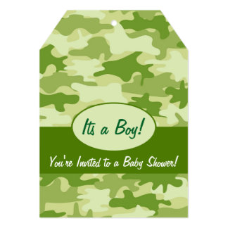 Green Camo Camouflage Boy Baby Shower Invitation