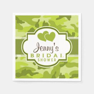 Green Camo, Camouflage Bridal Shower Standard Cocktail Napkin