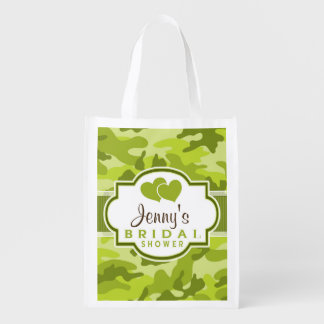Green Camo, Camouflage Bridal Shower Reusable Grocery Bag