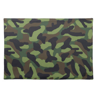Green Camo Camouflage Cloth Placemat