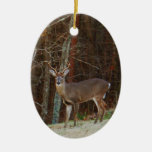 Green Camo,Camouflage Deer Double-Sided Oval Ceramic Christmas Ornament
