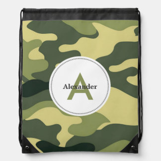 Green camo camouflage monogram book gym school bag drawstring backpacks