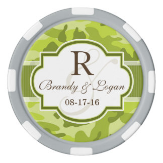 Green Camo, Camouflage Wedding Set Of Poker Chips