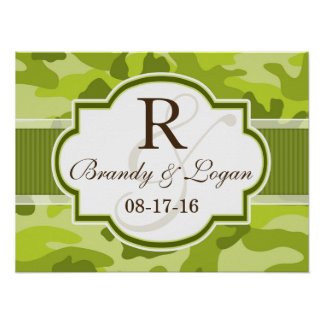 Green Camo, Camouflage Wedding Posters