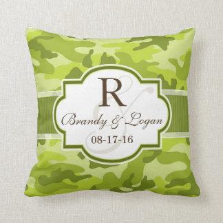 Green Camo, Camouflage Wedding Throw Pillow