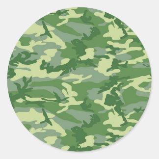 Green Camo Classic Round Sticker