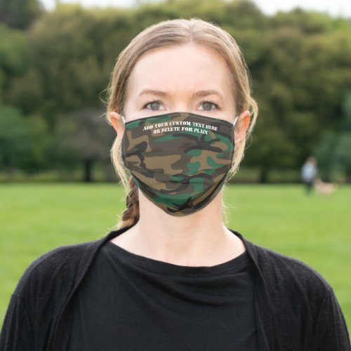 Green Camo Custom Personalized Text Saying Quote Cloth Face Mask