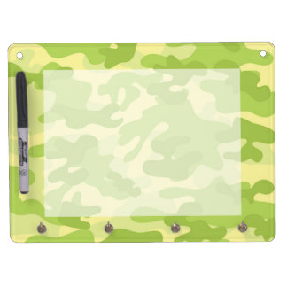 Green Camo Design Dry Erase Board With Keychain Holder