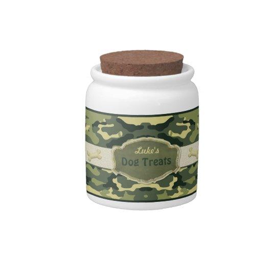 Green Camo Dog Treat Jar - Customize