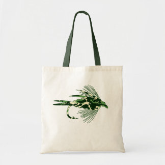 GREEN CAMO FLY FISHING LURE TOTE BAG