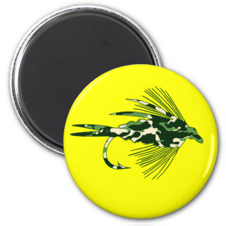 GREEN CAMO FLY FISHING LURE FRIDGE MAGNET