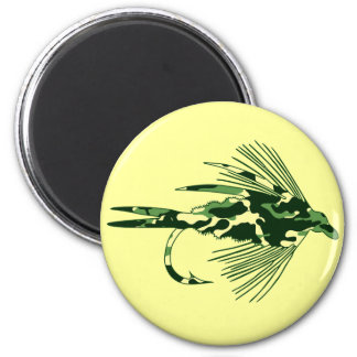 GREEN CAMO FLY FISHING LURE MAGNET