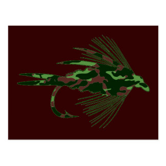 GREEN CAMO FLY FISHING LURE POSTCARD