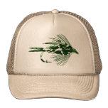 GREEN CAMO FLY FISHING LURE TRUCKER HAT