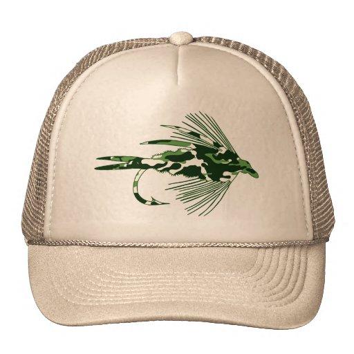 Green camo fly fishing lure trucker hat zazzle for Fly fishing trucker hat