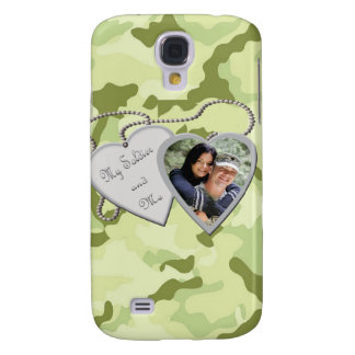Green Camo Hearts Custom Photo IPh Samsung S4 Case