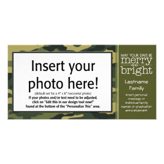 Green Camo Holiday Greeting Customized Photo Card