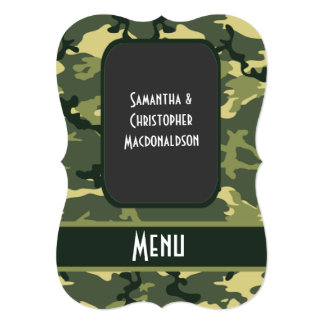 Green camo hunting pattern wedding menu card