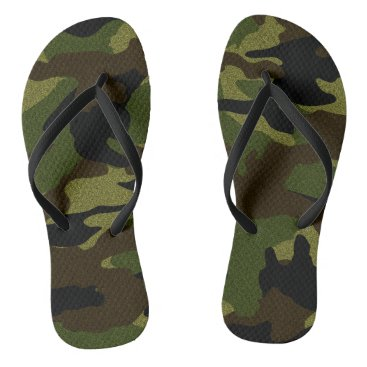 Beach Themed Green Camo Military Camouflage Pattern Flip Flops