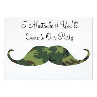 Green Camo Mustache - I Mustache if You'll Party Card