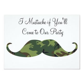 Green Camo Mustache - I Mustache if You'll Party 5x7 Paper Invitation Card