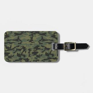 Green camo pattern bag tag