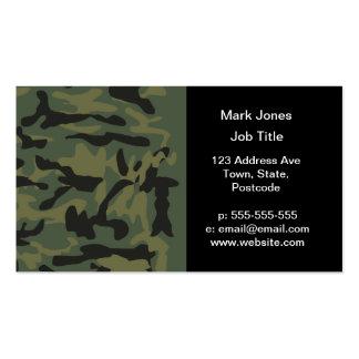 Green camo pattern business card