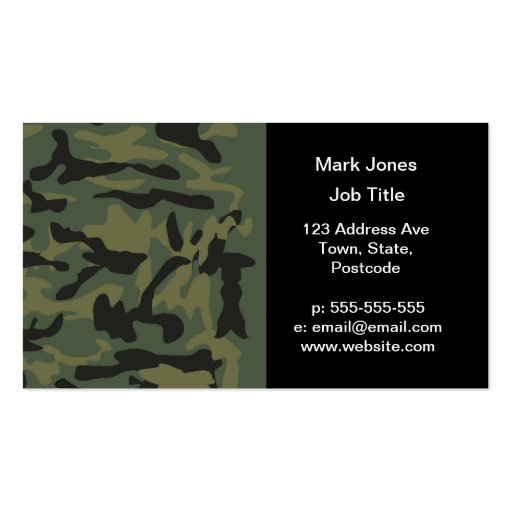 Green camo pattern business cards
