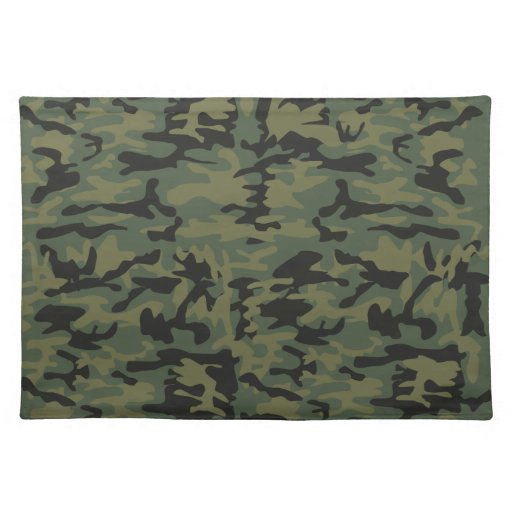 Green camo pattern cloth placemat