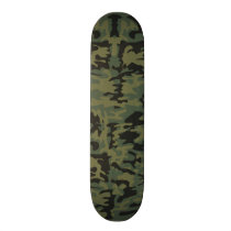 Green camo pattern skateboard