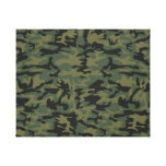 Green camo pattern stretched canvas print