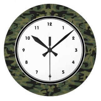 Green camo pattern wall clock