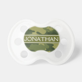 Green Camo Pattern with Name - Baby Boy Pacifier