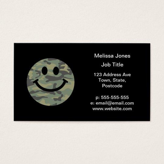 Green Camo Smiley Face Business Card