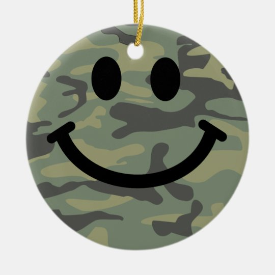 Green Camo Smiley Face Ceramic Ornament
