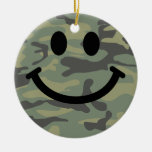Green Camo Smiley Face Double-Sided Ceramic Round Christmas Ornament