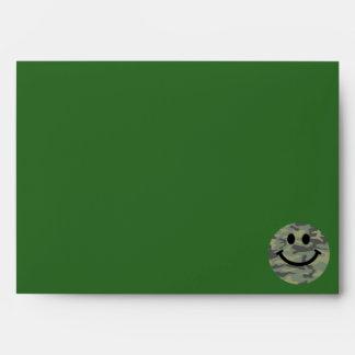 Green Camo Smiley Face Envelope