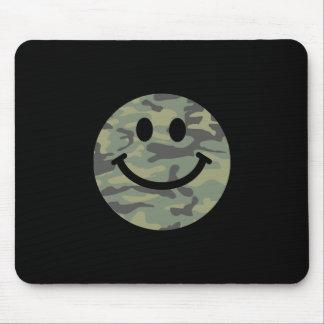 Green Camo Smiley Face Mousepad