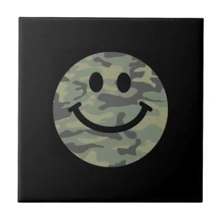Green Camo Smiley Face Tiles