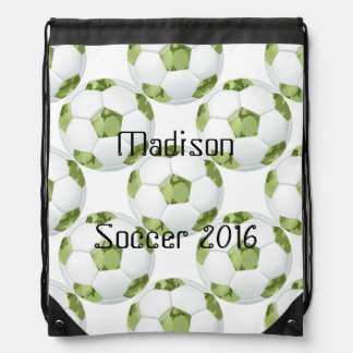 Green Camo Soccer Ball Personalized Bag Cinch Bag