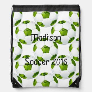Green Camo Soccer Ball Personalized Bag Drawstring Bags
