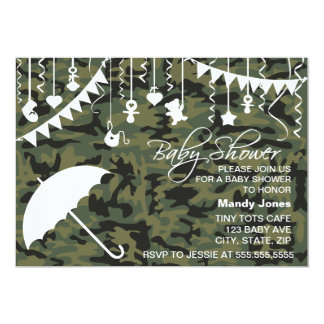 Green Camo umbrella modern baby shower invitations