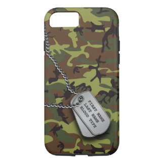 Green Camo w/ Dog Tag iPhone 8/7 Case