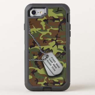 Green Camo w/ Dog Tag OtterBox Defender iPhone 7 Case