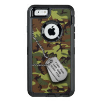 Green Camo w/ Dog Tag OtterBox Defender iPhone Case